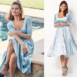 Eva Mendes Sosi Pleated Velvet Dress